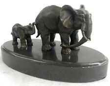 Mother and Child African Elephant Animal Kingdom Barye Bronze Sculpture Figurine