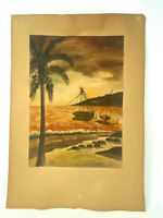 Vintage 1970s watercolor of boats, palm tree, ocean on paper, 9x12 signed MAXV