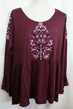 2X EYESHADOW Women's Plus Size Embroidered Baby doll Tunic Top Red NWT! $49