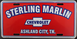 Sterling Marlin Chevrolet Dealership Metal License Plate Ashland City, TN NOS