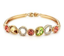 New Swarovski Element Crystal Sparkly Gold Plated Multi Coloured Bracelet Bangle