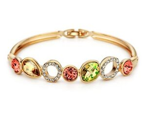 Multicolored Gold Bangle Yellow Gold Plated Made With Swarovski Crystal Bracelet