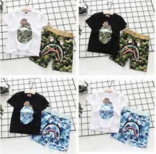2020 1 Set Kids Boy Girl Baby Milo Monkey Summer Shirt Top Tee + Camo Shark Pant