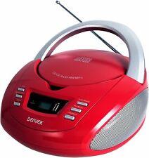 CD Player UKW Radio USB MP3 AUX CD-R CD-RW Denver TCU-211 rot
