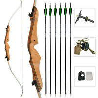 "68"" Archery Takedown Recurve Bow Carbon Arrow Set 16-38lbs Outdoor Hunting Shoot"