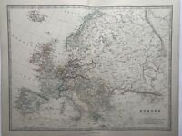 1868 Europe Hand Coloured Original Antique Map by Johnston