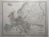 1868 Europe Hand Coloured Original Antique Map by Johnston