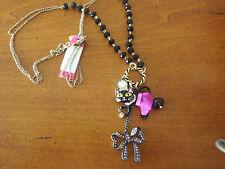 Betsey Johnson Enchanted Forest LARGE Black Cat Tutu Bow Spider Necklace NWT $65