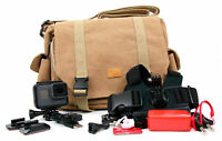 Tan-Brown Large Sized Canvas Carry Bag for GoPro Hero 5 Black / Hero 5 Session