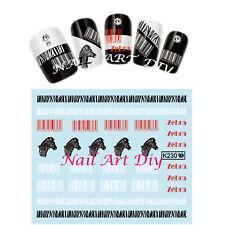 Water Transfer Stickers-Adesivi per Unghie-TATTOO-ZEBRA-BARCODE-Manicure!!
