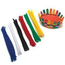 100 pk New UK Bright Chenille  Multi Coloured Pipe Cleaners New