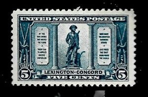 US 1925 Sc# 619 5 c Lexington Concorde - Mint H - Vivid Color - Centered - GEM