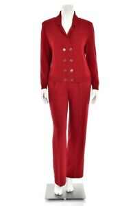 St John 2Pc Rouge Red Santana Knit Double Breasted Jacket & Pant Suit size 6 / M