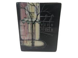 Rare Small Studio Anna Wall Vase, French VINS Cafe Series. Sgraffito