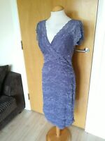 Ladies MARINA Dress Size 8 Mauve Lilac Lace Wiggle Pencil Party Evening Wedding