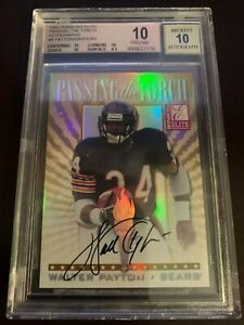 🔥1999 PASSING THE TORCH WALTER PAYTON BARRY SANDERS DUAL AUTO 🔥 BGS 10 POP 1🔥