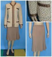 St John Collection Cream Brown Jacket Skirt L 10 12 14 2pc Suit Trims Zipper