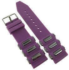 24mm Trendy Rubber Silicone Purple Dark Grey Tone Insert Watch Band Strap #SL91