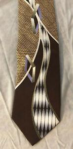 Daniel Ellissa New York Men's Tie Brown's NWOT 100% Silk Vintage