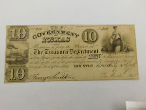 1838 $10 GOVERNMENT OF TEXAS  NOTE (127)