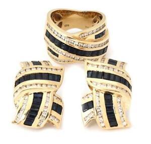 Gorgeous 9.00ct Diamond Sapphire 14k Gold Earrings & Ring Set LIQUIDATION!