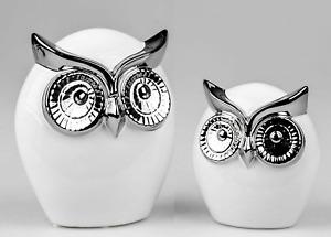 Deko Eulen weiß - Silber glänzend in 2 verschiedenen Größen von Formano
