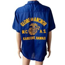 AMERICAN VINTAGE 50s Hale Niu Tiki Bowling Shirt Rockabilly Hawaii Blue Medium M