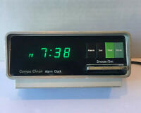 Vintage Compu Chron No. 5920 Digital LED Space Age Green Display Alarm Clock