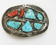 EFFIE C. ZUNI TURQUOISE/CORAL STERLING SILVER SNAKE BELT BUCKLE AS IS 49-M