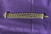 Vintage Monet Silver Tone Double Link 3 Strand Chain Bracelet