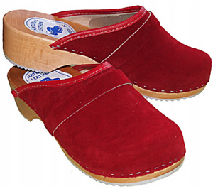 Rote Leder Schweden Holz Clogs Holzschuhe Pantoletten in Schuhgröße 36-41 NEU