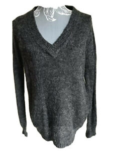 JCL Womens Jumper Size 10-12 Dark Grey V Neck With Mohair Long Sleeved
