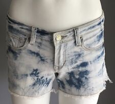 Pre-owned FREE FUSION Faded Blue Marble Wash Denim Frayed Shorts Size 6