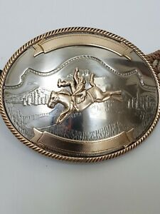 Vintage German Silver Bronc Rider Mountains Rodeo Western Trophy Belt Buckle C