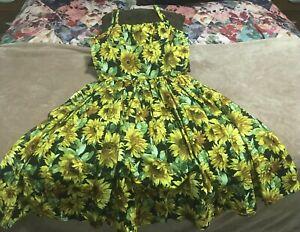 *Rare* Bernie Dexter Sunflower Dress, Pin Up, Rockabilly XL