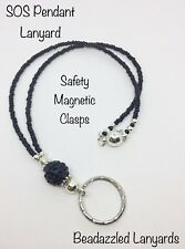 Beaded SOS Lanyard,Lanyard For SOS Pendant,Short Lanyard, Safety Magnetic Clasp