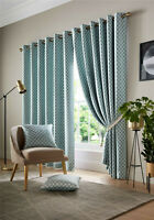 "Cotswold Teal 46"" x 54"" Embroidered Geo Herringbone Curtains"