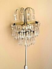 Pair of Antique Vintage Czechoslovakian Crystal Wall Sconces Half-Sphere Lights