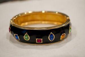 Swarovski Swan Multi Color Crystal Black Ename Bangle Bracelet Rare*****