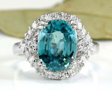 6.00 Carats NATURAL BLUE ZIRCON and DIAMOND 14K Solid White Gold Ring