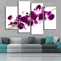 Lager Plum Purple Orchids Floral Canvas Pictue Wall Print Art Home Decor 4 Panel
