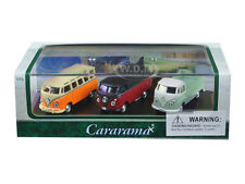 VOLKSWAGEN BUS 3pc SET IN DISPLAY CASE 1/72 DIECAST CAR MODELS CARARAMA 71308