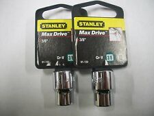 NEW STANLEY 3/8 in Drive  3/8 INCH  MAX DRIVE 12  POINT SOCKETS  TWO SOCKETS