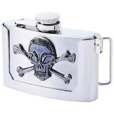 Belt Buckle Skull Crossbones Stainless Steel 3oz Hip Flask Biker Liquor HIP-0030