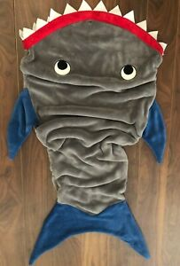 *NEW* Child Shark Blankie Tails Blanket Velour Snuggy Sleeping Bag Kids Minky
