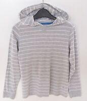 Unisex Next Light Cotton Long Sleeve Hoodie Hoody Striped Grey & White Age 8