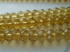 40 GOLD/AMBER FACETED  ABACUS GLASS BEADS 8mm DIAMETER