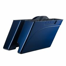 2 in1 Big Blue Pearl Stretched Saddlebags Bottoms For 1997-13 Harley Street Road