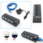 4 Port USB 3.0 Hub On/Off Switches AC Adapter Cable Splitter For Laptop/Desktop
