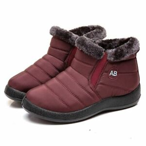 Winter Boots Women's Warm Fur Lined Ladies Fashion Snow Ankle Boot Shoes 5-10 US
